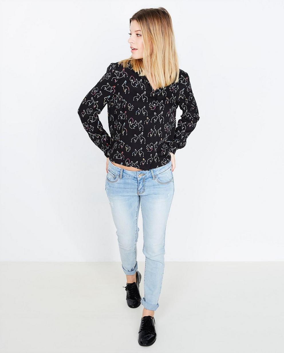 Zwart viscose blouse - met konijnenprint - Groggy